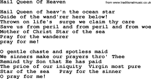 """Queen Of Heaven"" Hymn of Catholics, PDI"