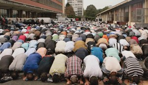 Muslim Prayers Towards Mecca Block Streets In France, PDI